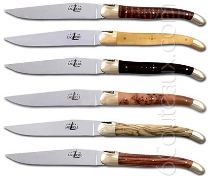 forge de laguiole knives box 6 precious wood handle steak knives. Black Bedroom Furniture Sets. Home Design Ideas